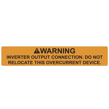 596 00589 Solar Label Warning Inverter Output Connection