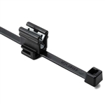 Cable Tie and Edge Clip, 50lb, 8 in Long, EC4B, Panel Thickness 1 to 3 mm, PA66HIRHSUVR5, Black, 100/bag, 156-02229